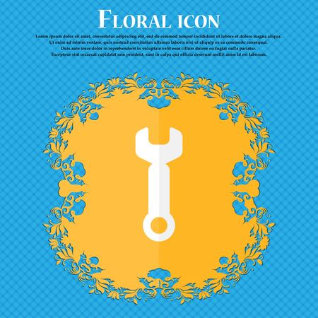 text tool: Wrench key sign icon. Service tool symbol. Floral flat design on a blue abstract background with place for your text. Vector illustration