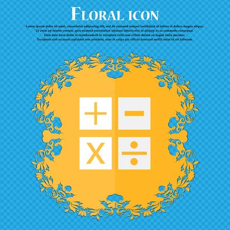 Multiplication, division, plus, minus icon Math symbol Mathematics. Floral flat design on a blue abstract background with place for your text. Vector illustration