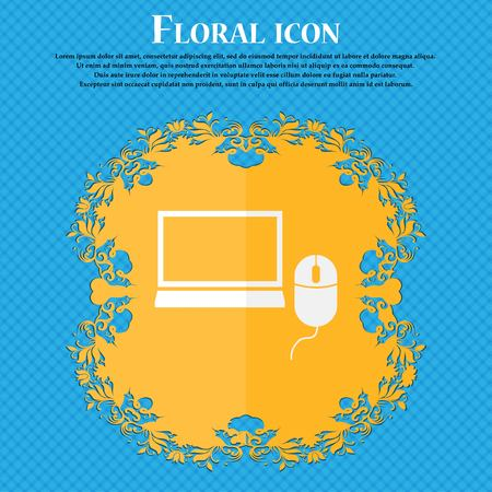ico: Computer widescreen monitor, mouse sign ico. Floral flat design on a blue abstract background with place for your text. Vector illustration