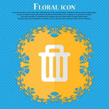 garbage tank: Recycle bin. Floral flat design on a blue abstract background with place for your text. Vector illustration