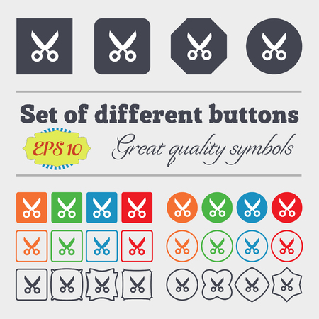 Scissors hairdresser sign icon. Tailor symbol. Big set of colorful, diverse, high-quality buttons. Vector illustration
