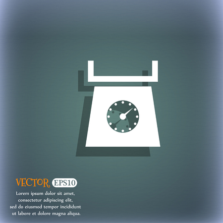 grams: kitchen scales icon sign. On the blue-green abstract background with shadow and space for your text. Vector illustration