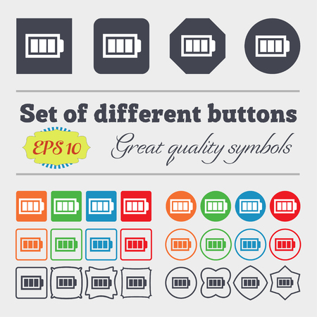 fully: Battery fully charged sign icon. Electricity symbol. Big set of colorful, diverse, high-quality buttons. Vector illustration Illustration