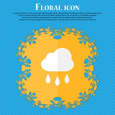 Weather Rain . Floral flat design on a blue abstract background with place for your text. Vector illustration
