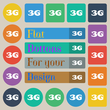 telecommunications technology: 3G sign icon. Mobile telecommunications technology symbol. Set of twenty colored flat, round, square and rectangular buttons. Vector illustration