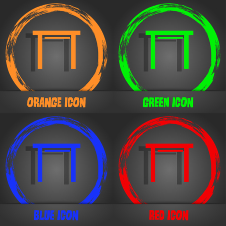 stool: stool seat icon sign. Fashionable modern style. In the orange, green, blue, red design. Vector illustration