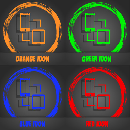 sync: Synchronization sign icon. communicators sync symbol. Data exchange. Fashionable modern style. In the orange, green, blue, red design. Vector illustration