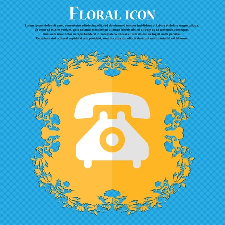 cordless phone: retro telephone handset. Floral flat design on a blue abstract background with place for your text. Vector illustration