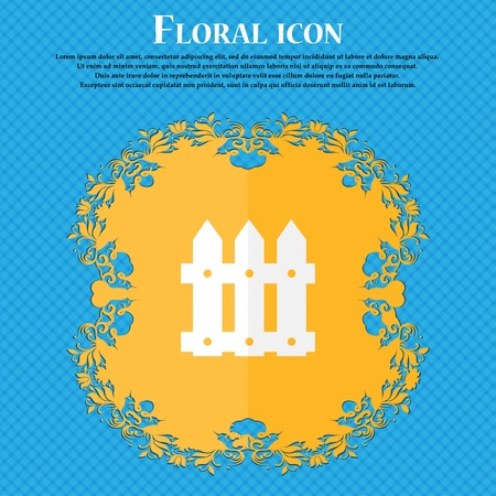 bucolic: Fence icon sign. Floral flat design on a blue abstract background with place for your text. Vector illustration