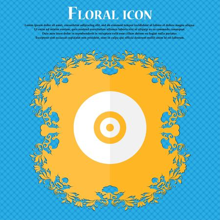 cdr: CD or DVD . Floral flat design on a blue abstract background with place for your text. Vector illustration