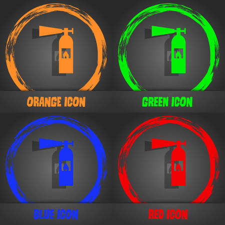 flammability: fire extinguisher icon sign. Fashionable modern style. In the orange, green, blue, red design. Vector illustration Illustration