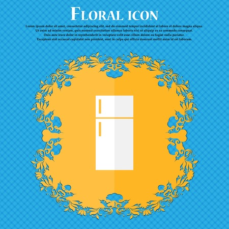 food storage: Refrigerator icon sign. Floral flat design on a blue abstract background with place for your text. Vector illustration Illustration
