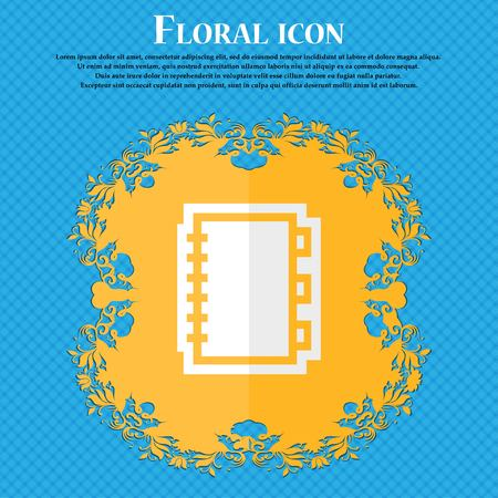 videobook: Book. Floral flat design on a blue abstract background with place for your text. Vector illustration