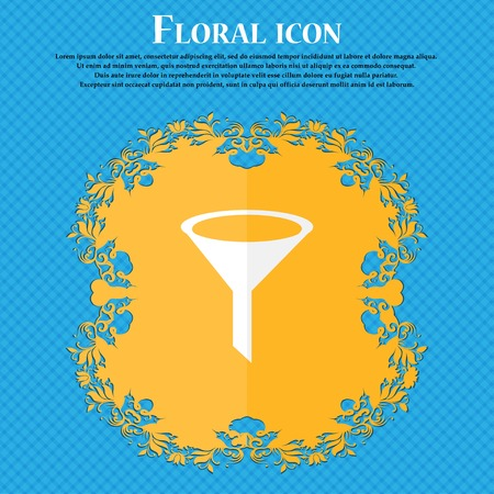 filtering: Funnel icon sign. Floral flat design on a blue abstract background with place for your text. Vector illustration