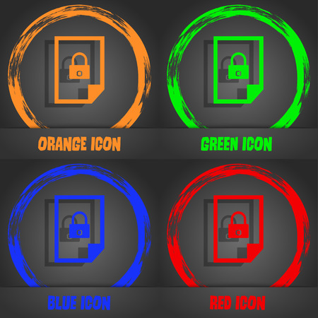 locked icon: File locked icon sign. Fashionable modern style. In the orange, green, blue, red design. Vector illustration Illustration