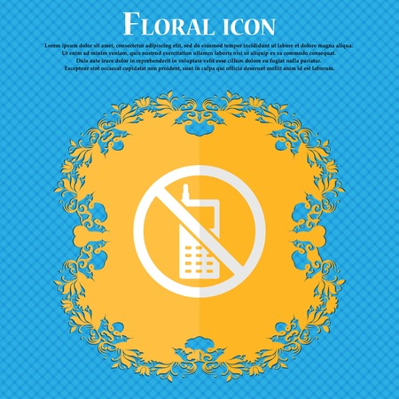 cell phones not allowed: mobile phone is prohibited. Floral flat design on a blue abstract background with place for your text. Vector illustration