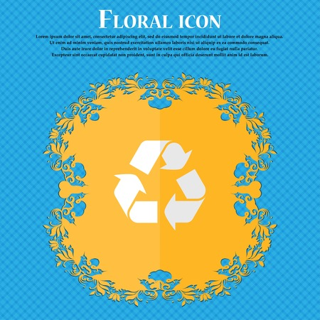 compute: processing. Floral flat design on a blue abstract background with place for your text. Vector illustration