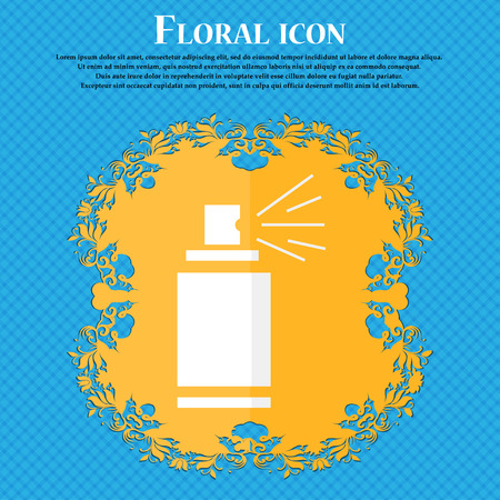 paint can: Graffiti spray can sign icon. Aerosol paint symbol. Floral flat design on a blue abstract background with place for your text. Vector illustration Illustration
