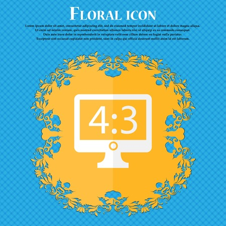 4 3 display: Aspect ratio 4 3 widescreen tv icon sign. Floral flat design on a blue abstract background with place for your text. Vector illustration Illustration