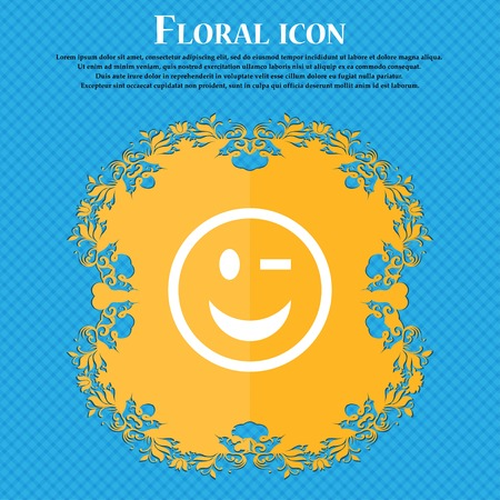Winking Face . Floral flat design on a blue abstract background with place for your text. Vector illustration