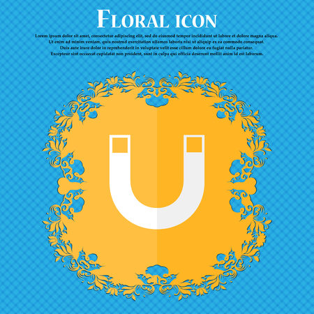 sig: magnet sign icon. horseshoe it symbol. Repair sig. Floral flat design on a blue abstract background with place for your text. Vector illustration Illustration