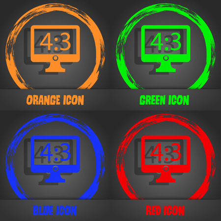 aspect: Aspect ratio 4 3 widescreen tv icon sign. Fashionable modern style. In the orange, green, blue, red design. Vector illustration