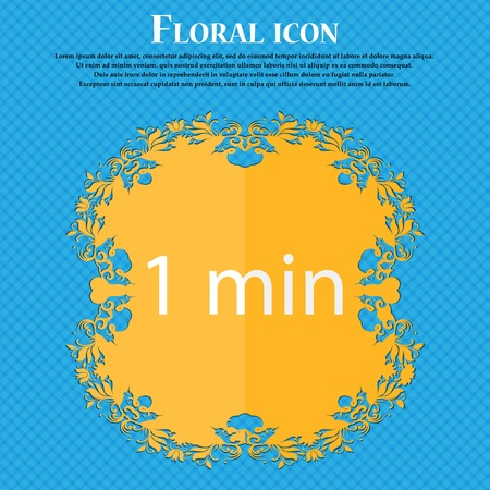 1 place: 1 minutes sign icon. Floral flat design on a blue abstract background with place for your text. Vector illustration