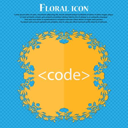 hypertext: Code sign icon. Programming language symbol. Floral flat design on a blue abstract background with place for your text. Vector illustration