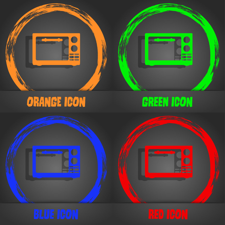 microwave stove: Microwave oven sign icon. Kitchen electric stove symbol. Fashionable modern style. In the orange, green, blue, red design. Vector illustration
