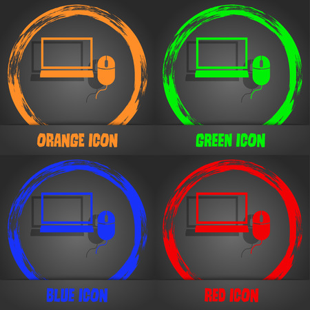 ico: Computer widescreen monitor, mouse sign ico. Fashionable modern style. In the orange, green, blue, red design. Vector illustration