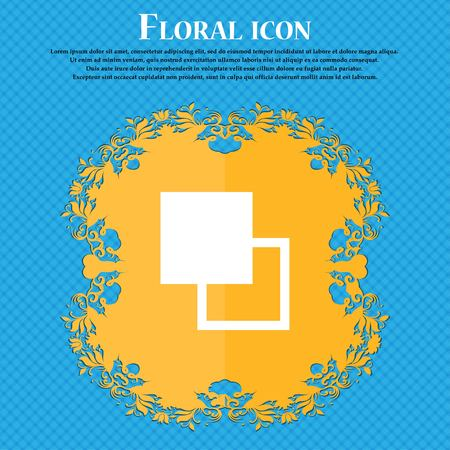 photoshop: Active color toolbar . Floral flat design on a blue abstract background with place for your text. Vector illustration