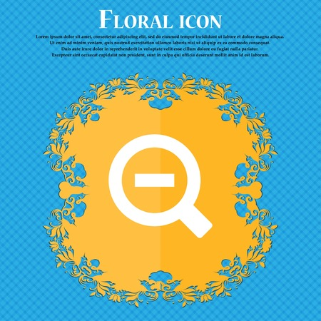 text tool: Magnifier glass, Zoom tool . Floral flat design on a blue abstract background with place for your text. Vector illustration Illustration