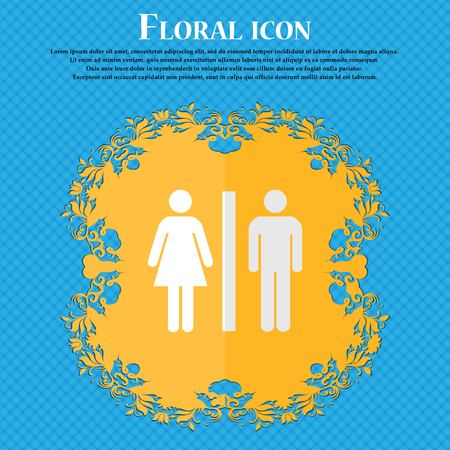 royal family: silhouette of a man and a woman. Floral flat design on a blue abstract background with place for your text. Vector illustration