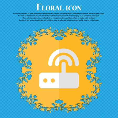 transmit: Wi fi router. Floral flat design on a blue abstract background with place for your text. Vector illustration Illustration
