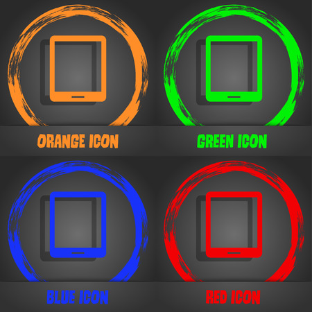 Tablet sign icon. smartphone button. Fashionable modern style. In the orange, green, blue, red design. Vector illustration