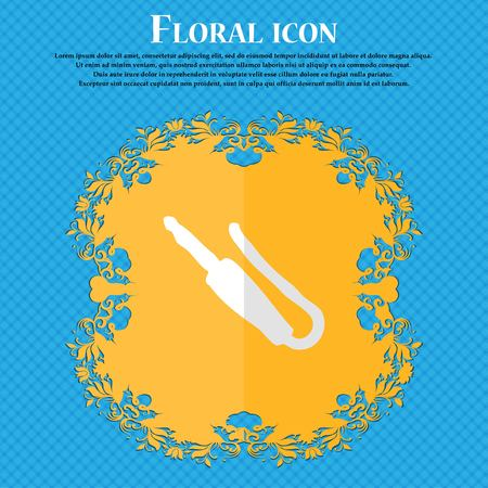 minijack: plug, mini jack. Floral flat design on a blue abstract background with place for your text. Vector illustration