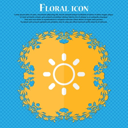 brightness: Brightness icon sign. Floral flat design on a blue abstract background with place for your text. Vector illustration