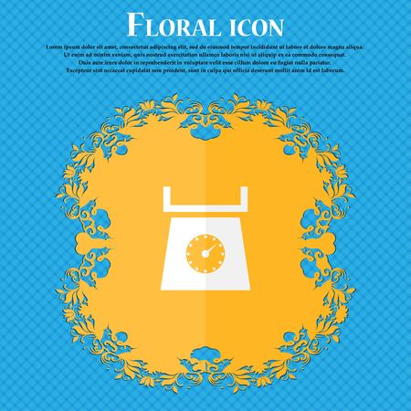 grams: kitchen scales icon sign. Floral flat design on a blue abstract background with place for your text. Vector illustration