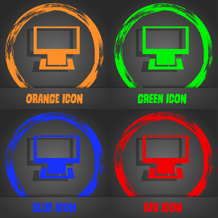 blue widescreen widescreen: Computer widescreen monitor sign icon. Fashionable modern style. In the orange, green, blue, red design. Vector illustration
