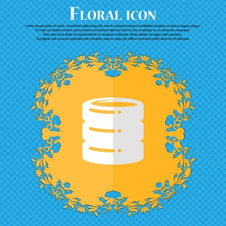ssd: hard drive, date base. Floral flat design on a blue abstract background with place for your text. Vector illustration Illustration