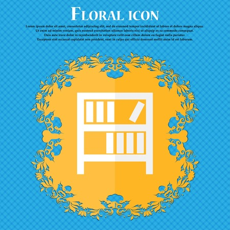 encyclopedias: Bookshelf icon sign. Floral flat design on a blue abstract background with place for your text. Vector illustration