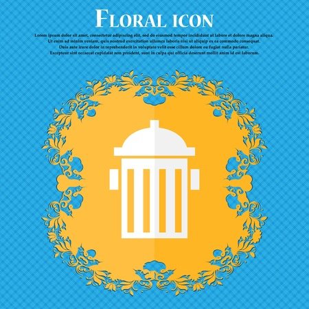 hydrant plug: fire hydrant icon sign. Floral flat design on a blue abstract background with place for your text. Vector illustration Illustration