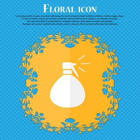 humid: plastic spray of water icon sign. Floral flat design on a blue abstract background with place for your text. Vector illustration Illustration