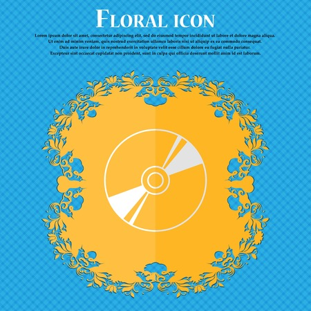 Cd, DVD, compact disk, blue ray. Floral flat design on a blue abstract background with place for your text. Vector illustration Illustration