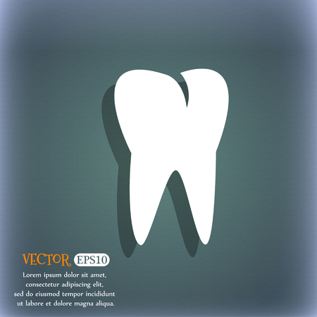 cavity braces: tooth icon. On the blue-green abstract background with shadow and space for your text. Vector illustration