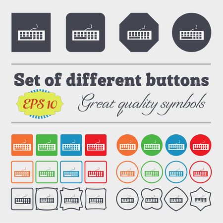 peripheral: Computer keyboard Icon. Big set of colorful, diverse, high-quality buttons. Vector illustration