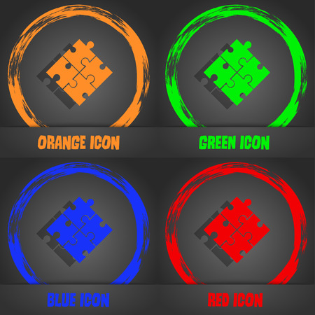 conundrum: Puzzle piece icon sign. Fashionable modern style. In the orange, green, blue, red design. Vector illustration