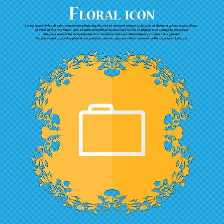 map case: Folder . Floral flat design on a blue abstract background with place for your text. Vector illustration Illustration