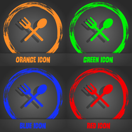crosswise: Fork and spoon crosswise, Cutlery, Eat icon sign. Fashionable modern style. In the orange, green, blue, red design. Vector illustration