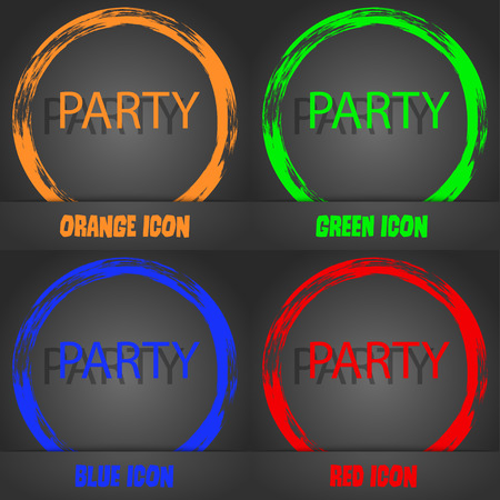 blue party: Party sign icon. Birthday air balloon with rope or ribbon symbol. Fashionable modern style. In the orange, green, blue, red design. Vector illustration
